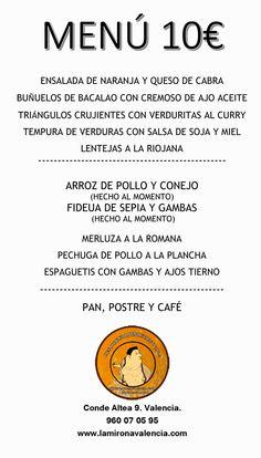 Ya tenemos preparado el #menu para esta semana en La mirona. Os esperamos.