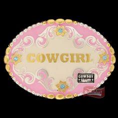 Fivela Cowgirl Rosa c/ Detalhes Rosa e Strass - Cowboy Brand - Rodeo West