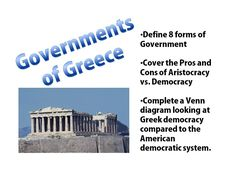 This activity will have your students defining eight different types of government that are commonly seen. Next they will compare the pros and cons of aristocracy to democracy, and then finally students will finish up by examining the similarities and differences between the Athenian democracy system and the American democracy system.