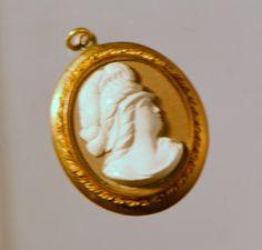 Antique Victorian gold fill lava cameo pendant.