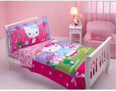 Hello Kitty Toddler Bedding Set - http://www.kidsdimension.com/hello-kitty-toddler-bedding-set/