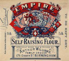 Empire Self-Raising Flour, 1901 The National Archives Vintage Tags, Vintage Labels, Vintage Ephemera, Pantry Labels, Food Labels, Vintage Packaging, Print Packaging, Steampunk Coffee, American Girl Diy