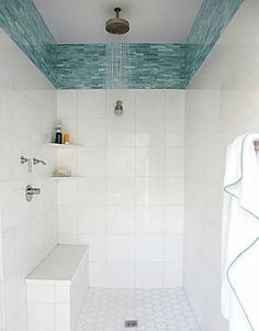 Bathroom decor for your bathroom remodel. Learn bathroom organization, master bathroom decor ideas, bathroom tile a few ideas, bathroom paint colors, and more. House Bathroom, Small Bathroom, Bathrooms Remodel, Bathroom Design, Beach Bathrooms, White Bathroom, Blue Glass Tile, Tile Bathroom, Shower Tile