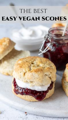 Vegan scones – these easy eggless and dairy-free British scones are a perfect tea time treat. They are quick and simple to make and totally delicious. Serve with jam and vegan cream; or eat them split, toasted and buttered. Breakfast Crockpot Recipes, Egg Recipes For Breakfast, Tea Recipes, Healthy Breakfast Recipes, Vegan Recipes Easy, Vegetarian Recipes, Vegan Scones Recipe Easy, Vegetarian Sweets, Dinner Recipes