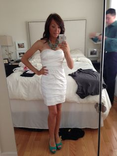 white cocktail dress for renewing wedding vows with sweetheart neckline.. love it!! simple and elegant