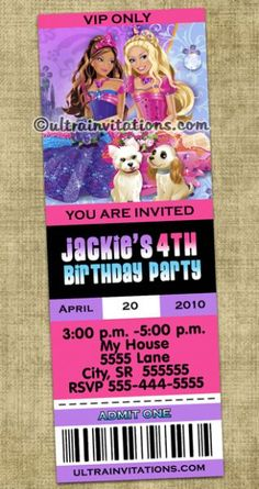 Barbie invitations | Barbie Birthday Invitation (Powered by CubeCart)