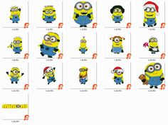 16 The Minions Embroidery Designs, Instant Download, Designs in 2 sizes fit into the 4x4 and  6x6 hoop Pes, Jef  format von Factoembroidery auf Etsy