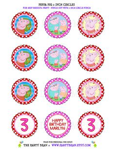 Peppa Pig Birthday Cupcake Toppers Stickers Tags by partybean, $5.50 instantpartyinvites@gmail.com