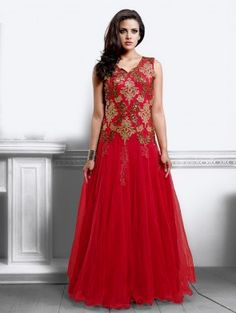 Red Net With Santone Inner Wedding Gown(Free Size)