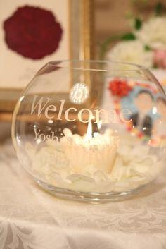 「ボード」ではなく「ボール」なウェルカムボール。キャンドルを灯して☆ #ウェディング #ウェルカムボード #wedding
