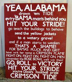 University of Alabama Fight Song Subway Art from Sweet Begonia on Etsy