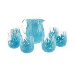"""What about a fresh #drink in your veranda? Try """"Light Blue Flair"""": this wonderful set of 6 glasses and 1 jar made in Murano - Venice. Buy your set here >>  http://www.abatezanettimurano.com/en/murano-glass-glassware/glasses/flair-light-blue-glasses-set.html#.VQb4PGSG_7U #home #table #tableset #place #utensil #design #italiandesign"""