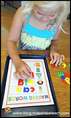 Building CVC words on a cookie sheet and other early literacy activities!