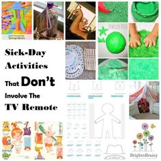 Sick-days can be challenging, especially with kids. Leave the TV off, and try these great low-energy, high-impact fun activities instead. Sick Day, Family Activities, Challenges, Tv, Children, Bad Day, Boys, Kids, Tvs