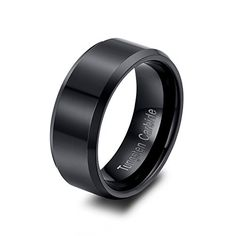 RAUL FANT 8mm Black Tungsten Ring Men's Wedding Band Polished Finish Beveled Edge Comfort Fit