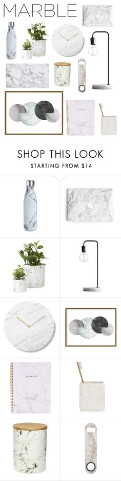 """""""White marble"""" by vintagedaisy1 ❤ liked on Polyvore featuring interior, interiors, interior design, home, home decor, interior decorating, S'well, Art Addiction, Hotel Collection and Holly's House"""
