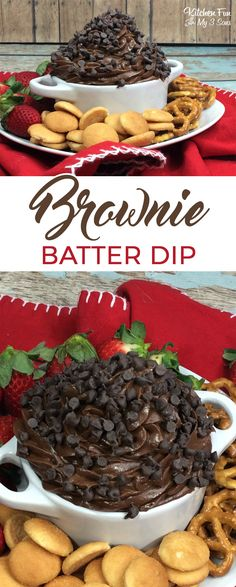 Brownie Batter Dip with chocolate cihps and served with vanilla wafers - this is so delicious! I love dessert dips.