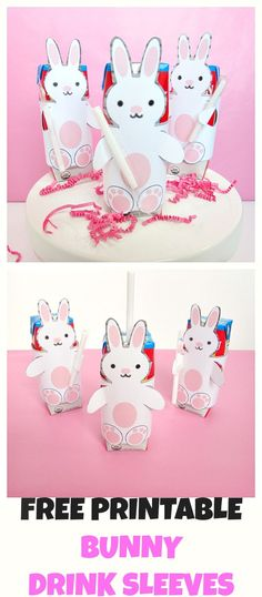 Free Printable Bunny Drink Sleeves! Put them on kids milk or juice in school lunches or for a Easter party