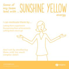 Hints for motivating team members who lead with Sunshine Yellow energy. True Colors Personality Test, Personality Types, Leadership Types, Insights Discovery, Team Motivation, Team Success, Wheel Of Life, Business Inspiration, Teaching Science