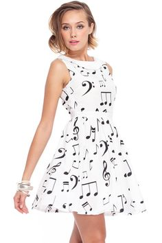 Musical Notes Printed White Dress