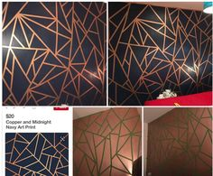 Frog tape + copper paint + navy paint = WOWZA!! Amazing geometric wall idea for a kids room.