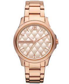 A|X Armani Exchange Watch, Women's Rose Gold Tone Stainless Steel Bracelet 36mm