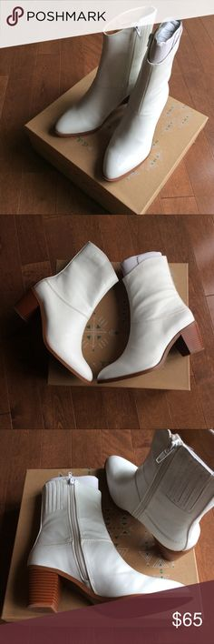 """BNIB Free People Vegan Arcadia Ankle Boot Brand new & authentic.  Comes in box.   ⭕️ Reasonable offers Trades,PayPal ✔️Bundle to save!  Mid-rise vegan leather ankle boot featuring a pointed toe and contrast stacked heel. Inside zip closure and side goring for an easy fit.  Faryl Robin + Free People  Vegan Leather Heel : 2.75"""" Shaft: 7"""" Free People Shoes Ankle Boots & Booties"""