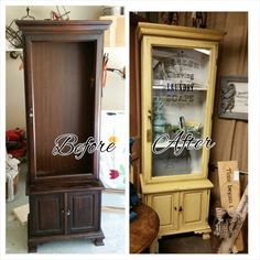 Repurposed Gun Cabinet...MMS Mustard Seed Yellow Paint!