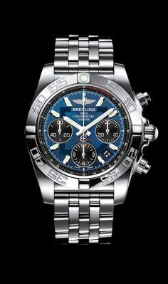 Chronomat 41 watch by Breitling - Steel case, blackeye blue dial, Pilot bracelet in steel.