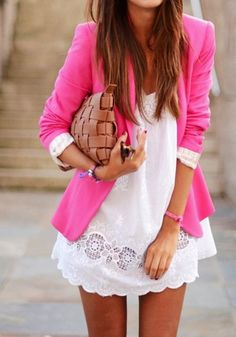 Hot pink jacket white dress and casual clutch bag. Cuuuuute! Pair with gladiators and done!
