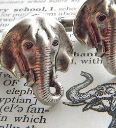 Elephant Cufflinks Silver Plated Metal Vintage Inspired Style Antiqued Finish Mens Cuff Links & Accessories Made In USA