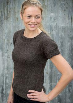 Gratis opskrift på strikket damesweater i print