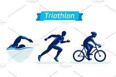Triathlon logos or badges set. Vector figures triathletes on a white background. Swimming, cycling and running man. Flat silhouettes. by Di Bronzino on @creativemarket