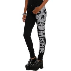 Misfits Iron Fist Fiend Logo Skinny Jeans | Hot Topic ❤ liked on Polyvore featuring jeans, pants, skinny fit jeans, 5 pocket jeans, cut skinny jeans, skinny jeans and iron fist