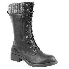 iisutas Womens Boots Mid Calf High Boots Combat Boots for Women Lace Up Women Boots with Credit Card and Cash PocketBlack65 >>> Learn more by visiting the image link. (This is an affiliate link)