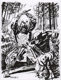 Wolverine vs Silver Samurai by Chris Samnee, in Gerry McDade's Sketches/Commissions Comic Art Gallery Room Comic Book Artists, Comic Artist, Comic Books Art, Silver Samurai, Art Archive, Cool Sketches, Batman And Superman, Marvel Characters, X Men