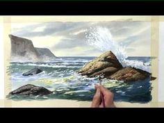 Sea & Sky in Watercolour - Crashing Wave - Part Three - YouTube