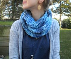 """Blues Infinity Scarf - Materials:  - 1 skein (I used about 3/4 of it) of Marble Chunky Yarn - Set of US size 10 (6mm) straight needles Gauge:16 sts x 21 rows = 4 in  (gauge is not incredibly important for this pattern) Finished Measurements: 8"""" x 54"""" before seaming Cast on 30 stitches Row 1: Knit Row 2: *P1,K2* Repeat rows 1 and 2 until scarf measures 54"""" from beginning. Mattress stitch the two ends together to complete the infinity scarf"""