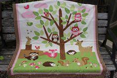 Woodland creatures baby crib blanket by Hatsbyalyssa on Etsy, $60.00