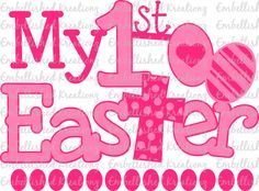 Easter/'My 1st Easter' with Cross/Eggs VINYL Decal/Easter Baby Photos/Easter DIY/Easter Decor/Easter Bunny by EmbellisheDKreationz on Etsy