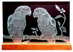 Carved Glass Parrot Duo Pair in Handcrafted Wooden Base My Glass, Glass Art, Glass Etching, Etched Glass, Beveled Glass, Laser Show, Sandblasted Glass, Glass Engraving, Cat Statue