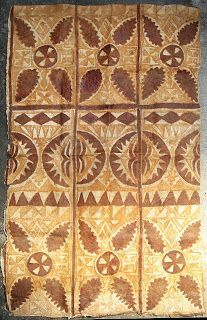 117cm x 74cm CA1950  PRINTED WITH CARVED WOODEN BLOCKS CALLED UPETE,  THIS TYPE OF CLOTH WAS WORN BY ORATORS AND PRESENTED TO CHIEFS AS GIFTS