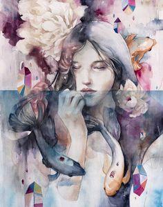pink - woman with fishes - painting - Valerie Chua Watercolor Portraits, Watercolor Paintings, Art Paintings, Art Aquarelle, Street Art, Love Illustration, Fish Art, Art Blog, Female Art