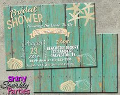 Printable Beach Themed Bridal Shower Invitation (Digital File Only)