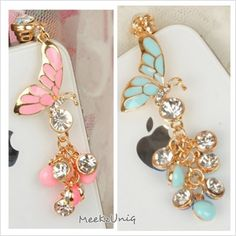 Sparkling Butterfly iPhone Plug Charms!!!
