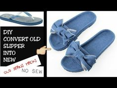 Blue Jean Shoes Shoes With Jeans How To Make Jeans How To Make Shoes Flip Flop Slippers Flip Flop Shoes Design Your Own Shoes Jean Crafts Shoe Crafts Diy Old Jeans, Recycle Jeans, Flip Flop Slippers, Flip Flop Shoes, Flip Flops Diy, How To Make Slippers, How To Make Jeans, Flip Flop Craft, Denim Crafts