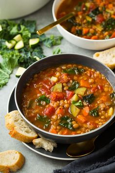 Food Photography :: Here's a new, super healthy soup to add to your dinner rotation – this Italian Vegetable Lentil Soup! It brimming with nutritious ingredients and it will fill you right up....