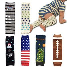 Elesa Miracle 6-pack Baby & Toddler Cozy Soft Leg Warmers, Kneepads, Gift Set for Boys & Girls, Rugby, Car, Rocket, Star, Amarican Flag In stock - $17.99