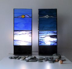 Duet: lamp Sunshine and lamp Moonlight. Stained glass lamp. Tiffany table lamp. Handmade lamp. Glass art.