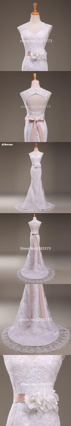 White Sexy Mermaid Wedding Dress Appliques Backless Wedding Dresses Long  Flower Sashes vestido de novia Chic 7405a4cf7a51